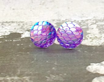 Purple Dragon Scale Studs, Surgical Steel Studs, Fantasy Studs, Shimmering Mermaid Studs, Purple Mirrored Studs