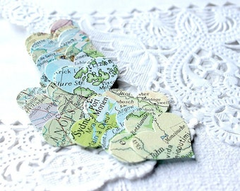 Mini Map Stickers, Mini Heart Stickers, Heart Stickers, Map Stickers