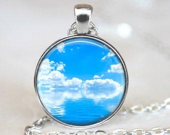 Calm Ocean Pendant, Calm Ocean Art Pendant, Quiet Ocean Art Necklace, Calm Blue Ocean Art Pendant, Bronze, Silver, Quiet Ocean Jewelry 129