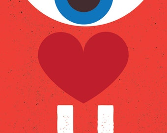Valentine Greeting Card I Love You Stationery Rebus - Modern Graphic Anniversary  Card - Eye Heart U Blank Inside Illustration A7 Size
