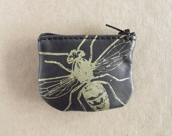 Wasp Coin Purse Leather Recycled