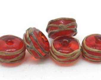 Red And Raku Glass Beads SRA Lampwork Made to Order