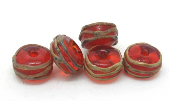 Aged Red And Raku Beads Made to Order