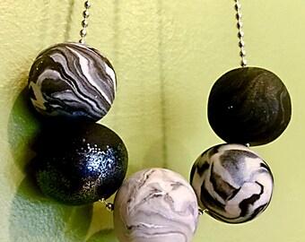 Chunky Bead Necklace Handmade OOAK Silver Chain Modern Jewelry - Minimalist