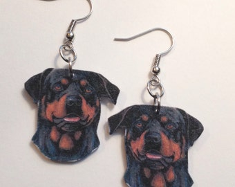 Handcrafted Plastic Rotweiller Dangle Earrings, Necklace or Keyring