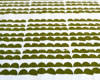 Fabric panel - Mountains in olive green ink on organic cotton basecloth. Textiles designed and screen printed in Melbourne.