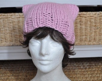 Pink Pussy Hat for Women's March on Washington - Light Pink Hat - Kitty Hat - Knit Hat - Mother's Day Gift