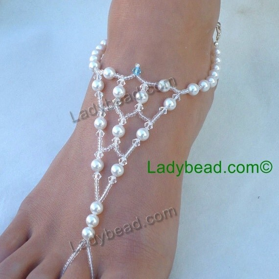 FJ163 Barefoot Sandals Beach Bride Barefoot Jewelry Pearl Crystal Something Blue Destination Wedding Dance Barefoot  Swarovski Ladybead