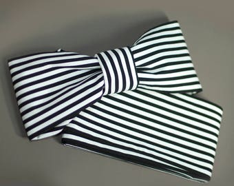 Black, White Striped Cotton Hanhaba Obi for Casual Japanese Yukata, Extra Long, Kimono Hime