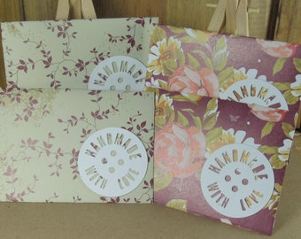 4 Mini A7 Handmade With Love motif envelopes in cream with burgundy roses and vines. thank you, birthday cash, gift giving, invitation