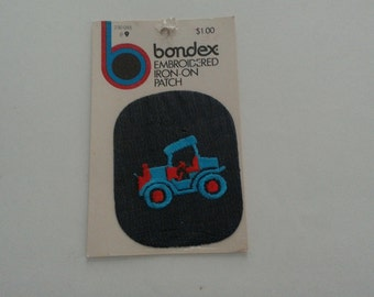 Vintage New Embroidered Iron-On Patch Denim Antique Car Blue Red Retro