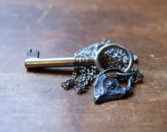 Secret Garden Key Necklace - antique skeleton key necklace - Key and Flower Necklace, nature-inspired, garden-inspired, botanical jewelry