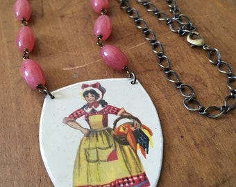 Little red riding hood vintage tin necklace