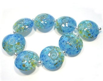 Sea to Sky Lentils, Handmade Glass Lampwork  Beads