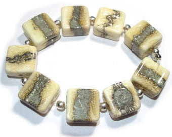 Handmade Glass Lampwork Beads, Silvered Ivory Tiles