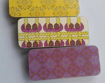 Trio of long thin tins. . . Yellow and Purple