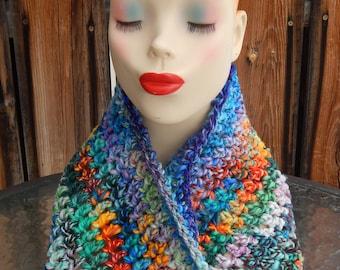 Crocheted Handspun Wool Cowl