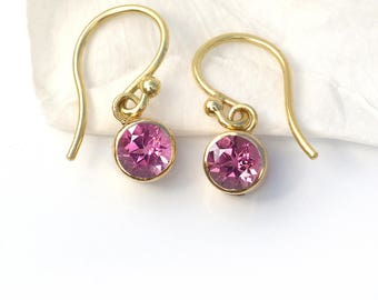 Tourmaline Earrings in 18ct Gold | October Birthstone | Handmade in the UK