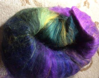 Grafton Fibers Colorways Club-Handpainted Corriedale Wool Batt-IRIS-May 2009, Purple, Olive, Gold-4.5 oz
