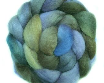 BFL Kidmohair SILK handdyed wool roving top spinning fiber 3.3 oz