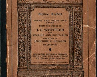 Riverside Literature Series Poems and prose Passages from the Works of J. G. Whittier - John Greenleaf Whittier - 1882 - Vintage Poetry Book