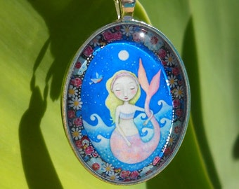 Blonde Mermaid Necklace Mermaid Brunette Mermaid Art Jewelry Little Girls Necklace Kids Jewely Gift Sister Gift for friend Mermaid Jewellery