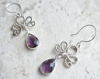 The Imperial- Purple and Silver Filigree Earrings