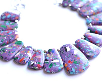 The Reina- Purple and Multi Color Glass Statement Necklace
