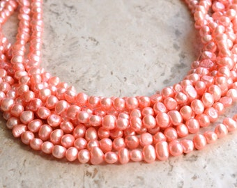 Michelle - Pink Freshwater Pearl Bridal Statement Necklace