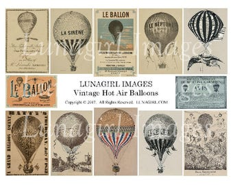 VINTAGE BALLOONS digital collage sheet, antique Hot Air Balloons, Steampunk Art DOWNLOAD vintage images, French ephemera Victorian airships
