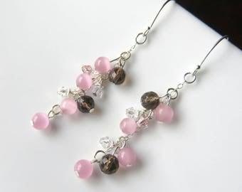 Dainty Rose Quartz Cluster Earrings, Smokey Quartz Dangles, Long Pink Quartz Gemstone Earrings, Rose Quartz and Sterling Silver Spring Fancy