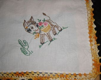 Vintage Tablecloth, Square Table Cloth, cotton embroidery, donkey, burro, dancing lady, guitar playing man, cactus, orange crocheted border
