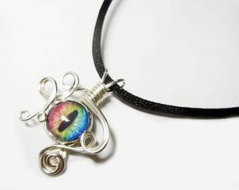 Wire Wrap Handmade Rainbow Spectrum Glass Evil Dragon Eye Pendant with Necklace