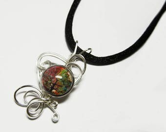 Wire Wrap Tree of Life Glass Cameo Pendant with Necklace