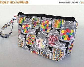 CLEARANCE Wristlet, penny candy, makeup bag,  cosmetic bag,  clutch purse, zipper pouch (555)