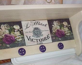 Chic Wall Shelf La Hotel purple Hooks Shabby Floral Decor Victorian Plate Rack