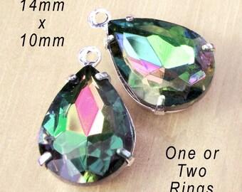 Vitrail Rainbow Glass Beads, Pear or Teardrop, Silver Plated Brass Settings, Cabochon, Rhinestone Jewels, Glass Gems, 14mm x 10mm, One Pair