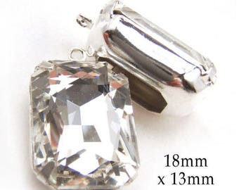 Crystal Glass Beads - Framed Glass Pendants or Earring Jewels - 18x13 Octagons - Rhinestone Glass Gems - 18mm x 13mm Cabochon, One Pair