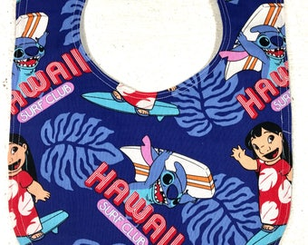 Lilo and Stitch Baby Bib - Infant Bib - Dribble Bib - Handmade - Disney - Baby Shower Gift - Baby Girl - Baby Boy - Hawaii