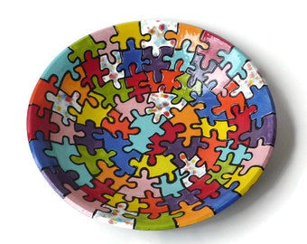 Ceramic Serving Bowl -Colorful Ceramic Bowl with Carved Puzzle Pieces