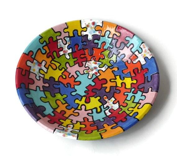 ceramic serving bowl colorful ceramic bowl with carved puzzle. Black Bedroom Furniture Sets. Home Design Ideas
