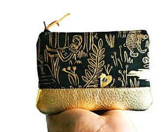 Forest Gold Metallic Leather Coin Purse, Zipper Pouch, Change Purse, Small Leather Pouch, Gift for Her