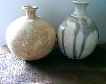 Two Vintage Ceramic Pots, Vases, Handmade, Glazed, Rustic, Home Decor, Small Pot, Gorgeous, Farmhouse