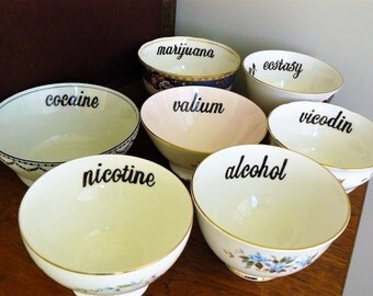 Seven Hits drug names hand painted vintage bone china bowl set recycled humor QOTSA edgy stoner decor display SALE