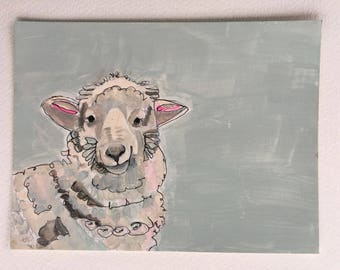 Sheep painting on paper, original sheep painting in acrylic
