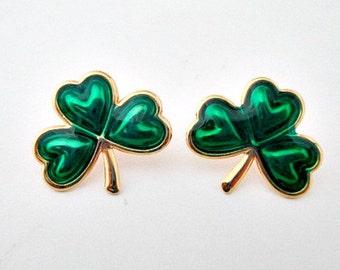Shamrock Vintage Pierced Post Stud Earrings- St Patty's Patrick's Day Jewelry Gift