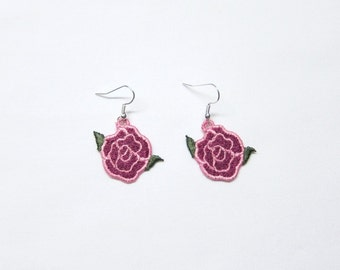 "Embroidered lace earrings "" Open Rose"""