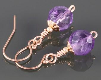 Genuine Amethyst Earrings. Rose Gold Filled Ear Wires. February Birthstone. Purple Earrings. Small Drop Earrings. Pink Gold-Filled. f16e247