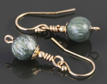 Seraphinite Earrings. Gold Filled Ear Wires. Genuine Gemstones. s17e071