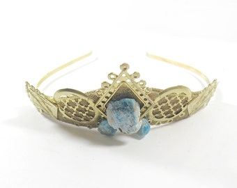 Tatyana Blue Apatite and Gold Filigree Tiara - by Loschy Designs